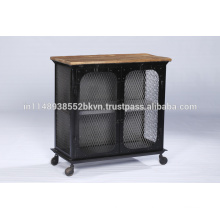 Industrial Vintage Metal and Wood 2 Door Cabinet with Wheels