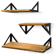 modern style Triangular metal bracket Rustic Wood Wall Shelves Set of 3 for Bedroom, Bathroom, Living Room, Kitchen