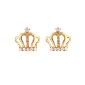 Princess Crown Stud Pendiente K Gold