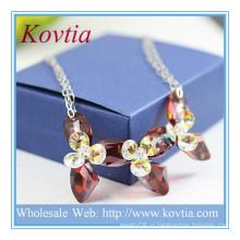 ВЫСОКИЙ конец штрафа ювелирные изделия 925 стерлингового серебра SWA кристалл кулон ожерелье