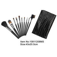 10pcs black plastic handle nylon/animal hair cosmetic brush set with crocodile PU skin case