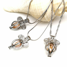 Bowknot Pearl Beads Cage Chain Locket Necklace Party
