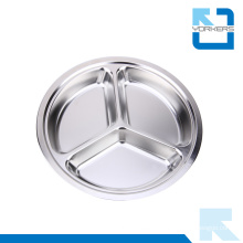 28cm Cheap Stainless Steel Round Tray with Dividers Snacks Serving Tray