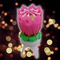 Music Spinning Rotating Flower Cake Topper Candle
