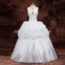 2017 esferas de espaguete de osso de peixe organza vestido de noiva vestido de bola com fotos reais