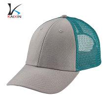 Personalizado de moda de alta qualidade barato 6 painel planície pré-curvo brim malha em branco bebê engraçado snapback azul boné de beisebol camionista