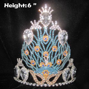 Venta al por mayor Unique Crystal Peacock Pageant Crowns