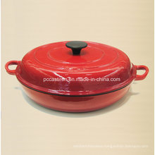 China Enamel Cast Iron Stock Pot Size 30.5X6cm