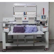 Máquina lisa do bordado do bordado do vestuário do bordado do tampão de 2 cabeças para a venda