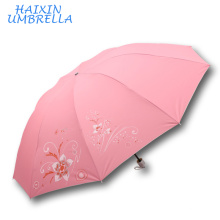 Непал Бренд солнце и Индии на рынке полиэстер Серебряное покрытие шелкография цветок печать ткань 3 складной зонтик Китай дистрибьюторов