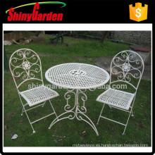 comedor blanco de hierro fundido conjunto de silla de malla de metal al aire libre
