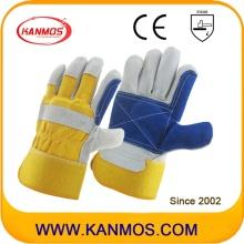 黄色の青工業用ハンドセーフティ牛革スプリットレザーワークグローブ(110162)