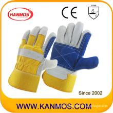 Amarillo azul mano industrial de cuero de vaca de seguridad de cuero dividido guantes (110162)