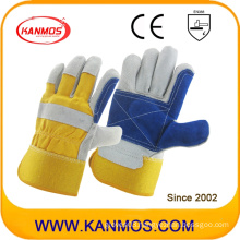 Yellow Blue Industrial Hand Safety Cowhide Split Leather Work Gloves (110162)