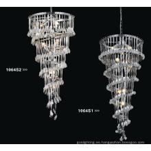 Cristal chino de lujo y luz de la lámpara del colgante del acero de carbón (1064S1)