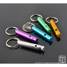 Emergency Hiking Aluminum Whistle Key Chain Multi-Colors