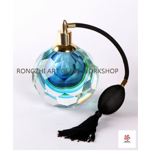 Blue Vintage Glass Perfume Bottle With Atomizer