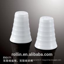 Hôtel de haute qualité Porcelaine Pepper Shaker Ceramic Salt &