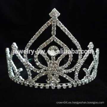 Accesorios de lujo del pelo plata plateada cristal princesa corona diadema