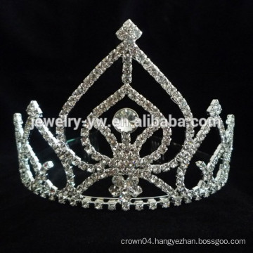 fancy hair accessories silver plated crystal princess crown headband