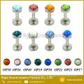 316L Surgical Steel Internally Threaded Opal Labret Helix Cartilage Tragus Lip Bar