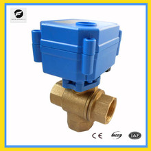 3 way brass electric water diverter valve for auto equipment, solar water system water heater, air condition