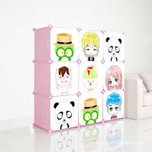 Armoires en plastique de bricolage avec portes de dessin animé pour enfants (ZH001-3)