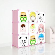 Gabinetes de plástico de DIY com portas de desenhos animados para crianças (ZH001-3)