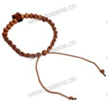 Baratos cordão de contas de madeira com pulseira de forma em t cruz