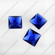 Saphier Blue Glass Stone Stone peut percer deux trous (DZ-1072)