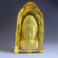 2015 vente chaude gravé cristal iceberg K9 bouddhisme pour la religion, cristal de bouddhisme or