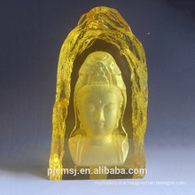 2015 hot sale engraved K9 Buddhism crystal iceberg for religion ,gold buddhism crystal