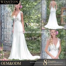 Vestido de venda popular canada arco e botão de vestido de noiva