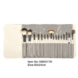 16pcs milk white plastic handle nylon or animale hair makeup brush kit with printed canvas fold case