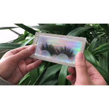B120 Hitomi Real Mink Eyelashes luxury Empty Custom Eyelash Packaging Plastic square box Custom Eyelash Box With Logo