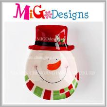 Plaque de collation de bonhomme de neige en céramique