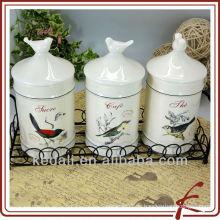 Envase de diseño de aves con tapa de pájaro de cerámica