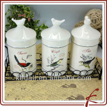 bird design canister with bird lid ceramic