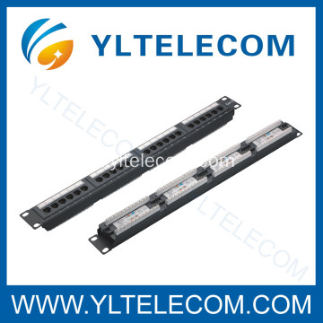 1U 19 polegadas 24port(4*6) Patch Panel com tipo de rótulo Cat. 5E e Cat. 6