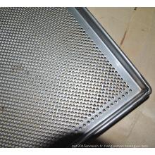 304 ss acier inoxydable a perforé la pâtisserie en métal a cuit les plateaux de service de nourriture