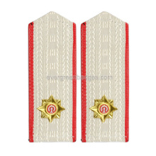 Logo bianco Epaulette metallo con Red Ribbon Border