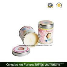 Bougie parfumée en métal avec bouchon en métal pour décoration intérieure