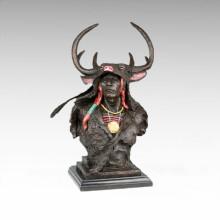 Büsten Messing Statue Antler männliche Dekoration Bronze Skulptur Tpy-472