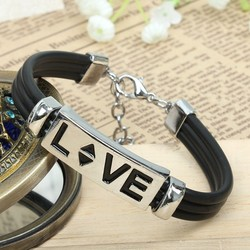 Metal Alloy Love Bracelet for women with leather cords and black enamel LOVE