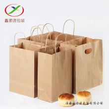 Saco de compras marrom do papel de embalagem 120gsm com punho