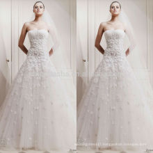 High-Class White Ivory Wedding Dress Strapless Long Tail Appliqued Tulle Made Church A-Line Bridal Gown NB0615