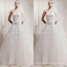 Высокого класса Белый Кот свадебное платье без бретелек длинный хвост аппликация тюль изготовлен Церкви-line платье NB0615 для новобрачных