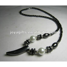 Magnetic Hematite Knife beaded Necklace