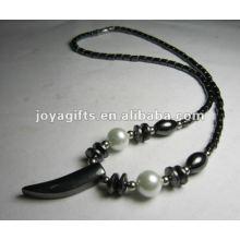 Магнитное гематитовое ожерелье из бисера