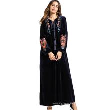 Middle eastern fashion modern women long sleeve loose embroidery flower Islamic clothing long velvet Muslim dress
